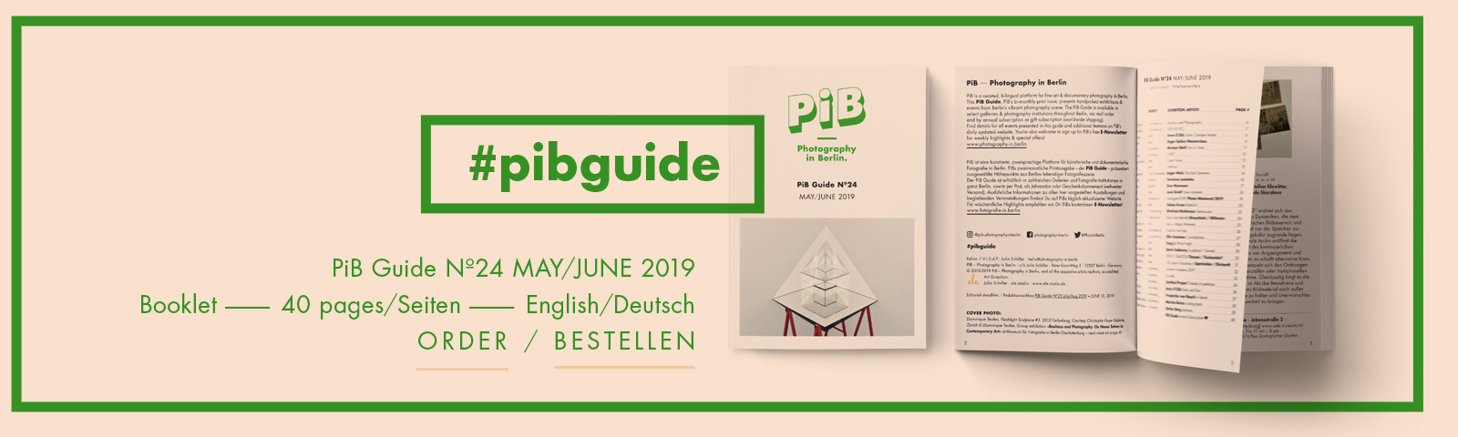 The PiB Guide Nº24 MAY/JUNE 2019 © PiB – Photography In Berlin. #pibguide. COVER PHOTO: Dominique Teufen, Flashlight Sculpture #3, 2013 Farbabzug, Courtesy Christophe Guye Galerie, Zürich © Dominique Teufen. Group Exhibition »Bauhaus And Photography« At Museum Für Fotografie In Berlin-Charlottenburg.