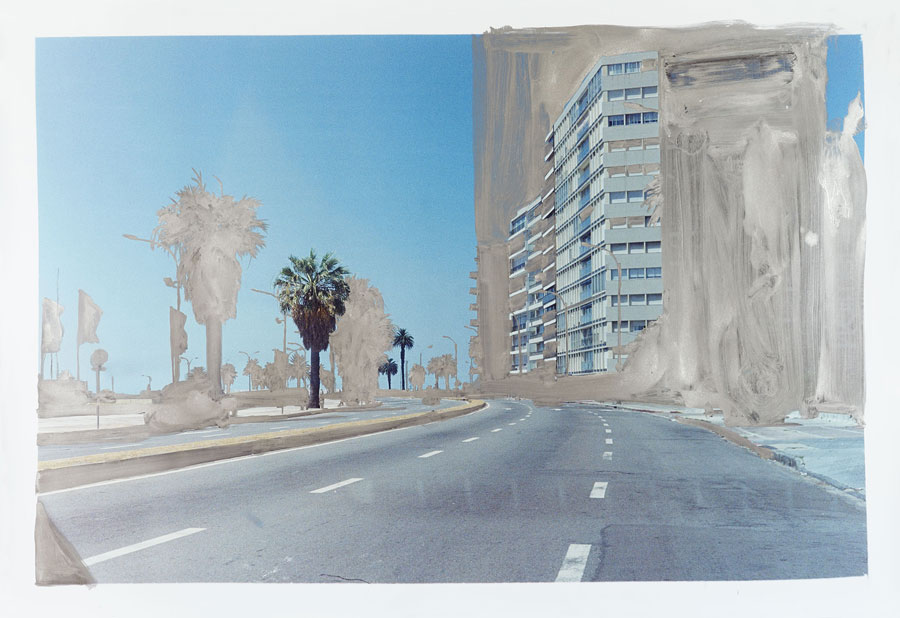 Playa Pocitos, 2016, Silver Pigmented Gouache On Hand Printed Photograph, 125 X 182 Cm © Peter Klare
