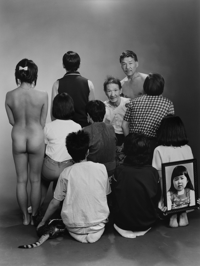 """Masahisa Fukase, From The Series """"Family"""", 1971–90, Upper Row, From Left To Right: A, A Model; Toshiteru, Sukezo, Masahisa. Middle Row, From Left To Right: Akiko, Mitsue, Hisashi Daikoji. Bottom Row, From Left To Right: Gaku, Kyoko, Kanako, And A Memorial Portrait Of Miyako, 1985, Vintage Gelatin Silver Print, Original Dimensions Of The Picture: 20.2 × 25.3 Cm; Framed: 31.6 × 25 × 3.8 Cm © Masahisa Fukase Archives"""